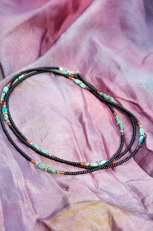 Black Glass Bead and Turquoise Bead Waist Beads
