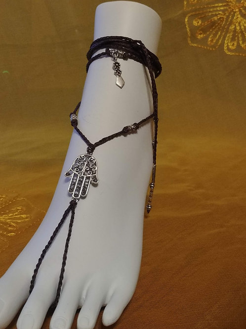 Handmade Foot Sandals with Silver Tone Hamsa Connector and Beads