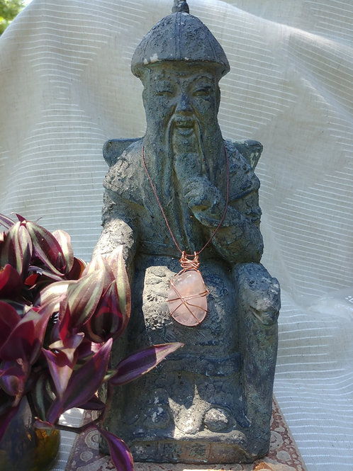 Hand Wrapped Copper Wire Rose Quartz Pendant