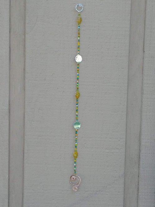 Single Strand Beaded Sun Catcher / Mirrors and Copper