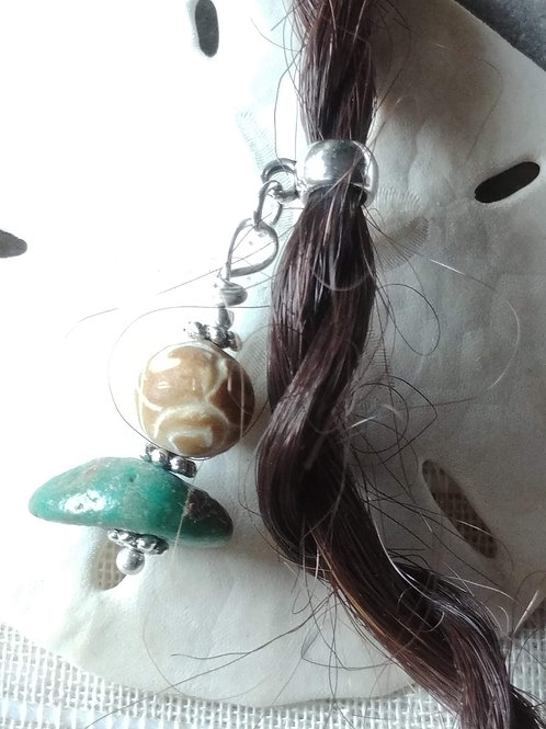 Turquoise and Etched Jade Hair Jewelry