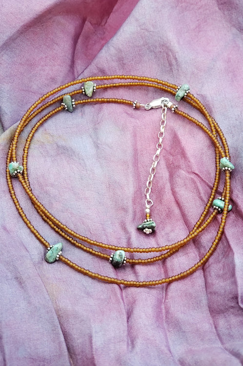 Turquoise and Silver Waist Beads