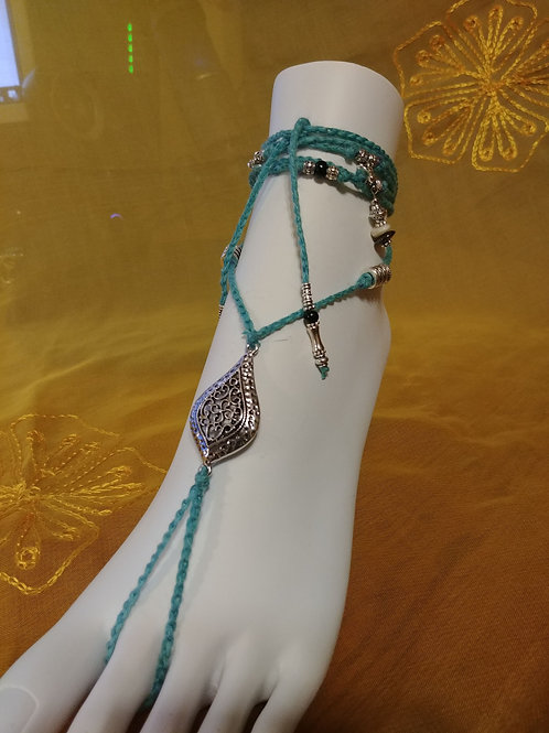 Turquoise Beaded Barefoot Sandal with silvertone beads