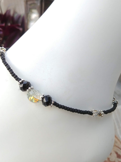 Handmade Anklet Black Czech Glass Beads