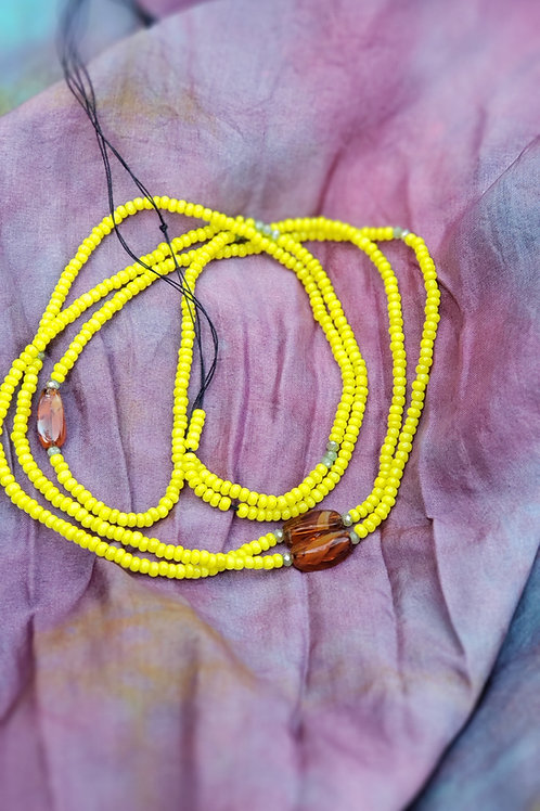 Yellow and Amber colored glass Waist Beads