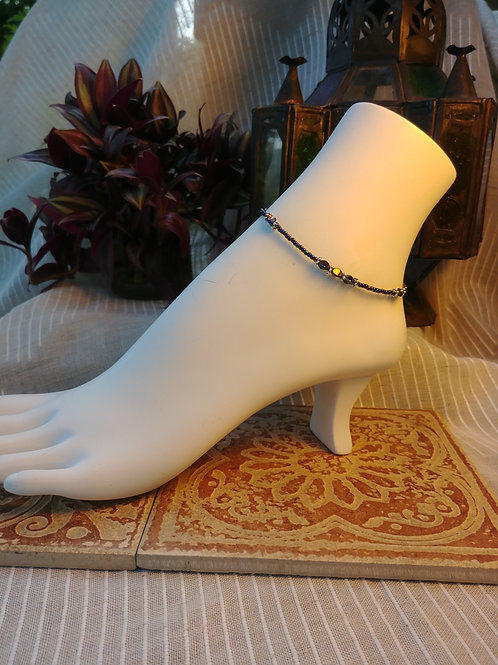 Handmade Irredesant Black Czech Beaded Anklet