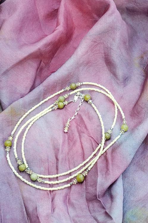 Jade and Creme Glass Bead Waist Beads