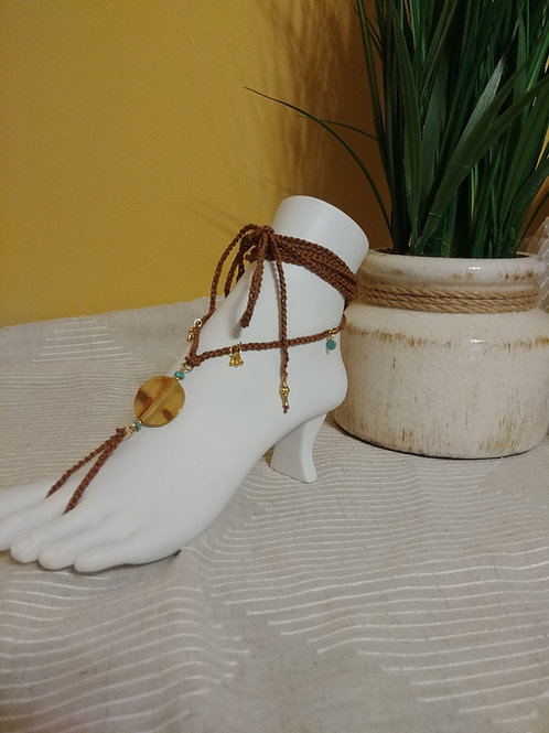 Handmade Barefoot Sandals / Foot Jewelry / Yoga Sandals with Goldtone Beads