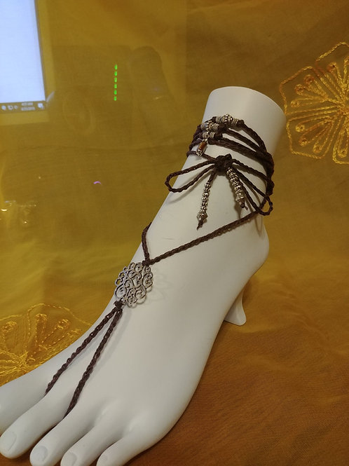 Barefoot Sandals / Barefoot Jewelry /Yoga Sandals with Silvertone Beads