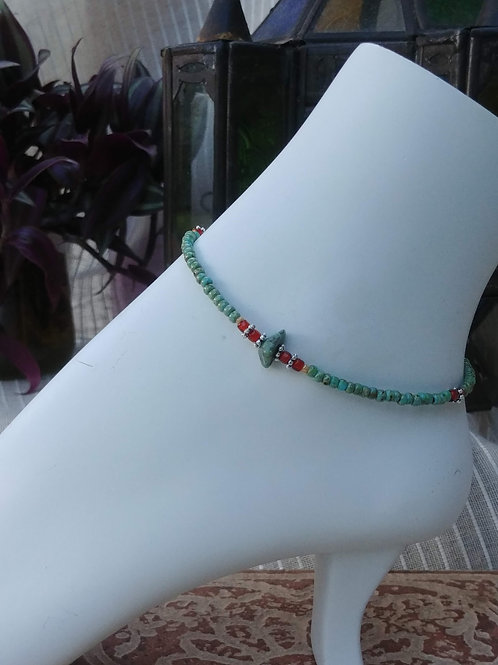 Handmade Anklet with Turquoise Bead