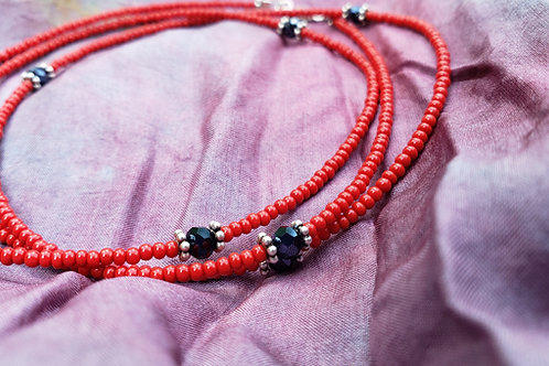Tomato Red and Black Waist Beads