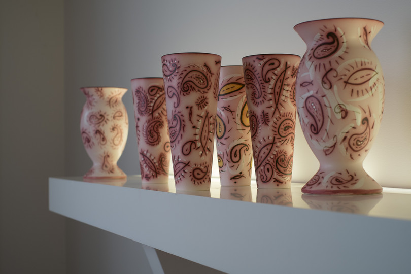 Lambeth and Paisley Flute Vases