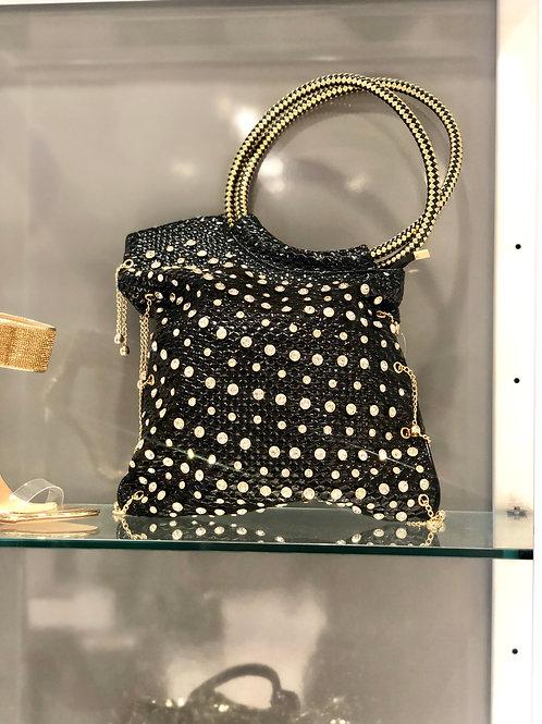 Black diamond studded tote