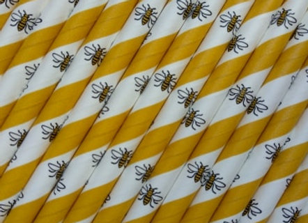 Manchester Bee paper straw