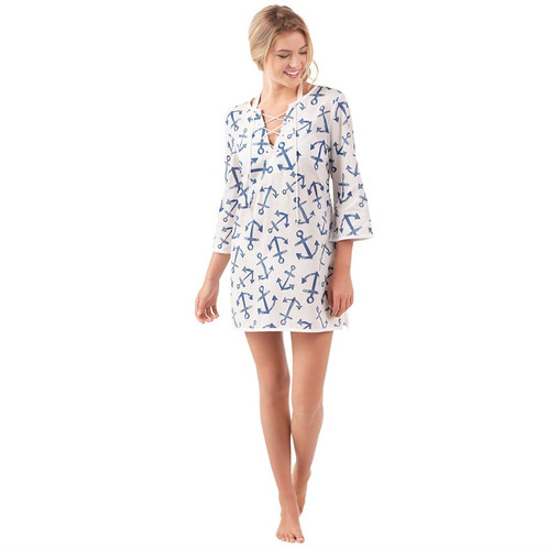 3e6658dea55dd Seas the day in this darling cotton voile three-quarter sleeve swim cover up!  Featuring a cotton rope lace-up chest placket with grommet detail, ...