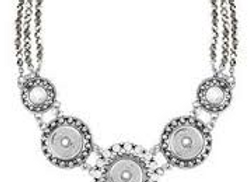 3 Snap Facet Statement Necklace- Silver