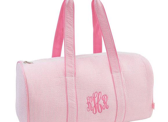 Pink Seersucker Duffel Bag