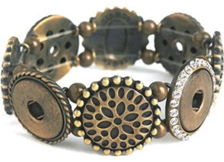 4 Snap Antique Brass Stretch Bracelet