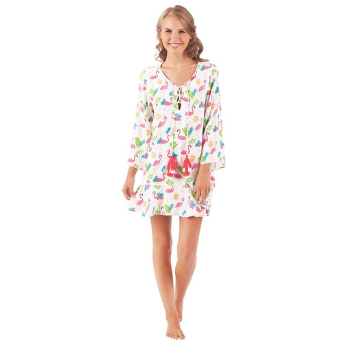 4c5fef25fd Be the envy of every gal this summer in this three-quarter length sleeve  rayon swim cover up by Mud Pie! This piece features a flounce hem, lace-up  chest ...