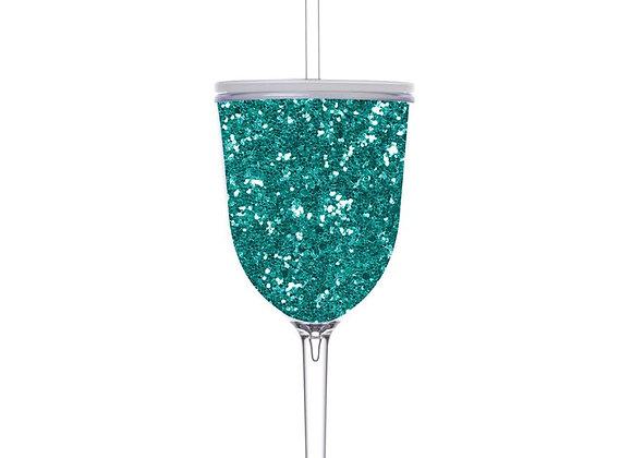 13 oz Turquoise Glitter Wineglass