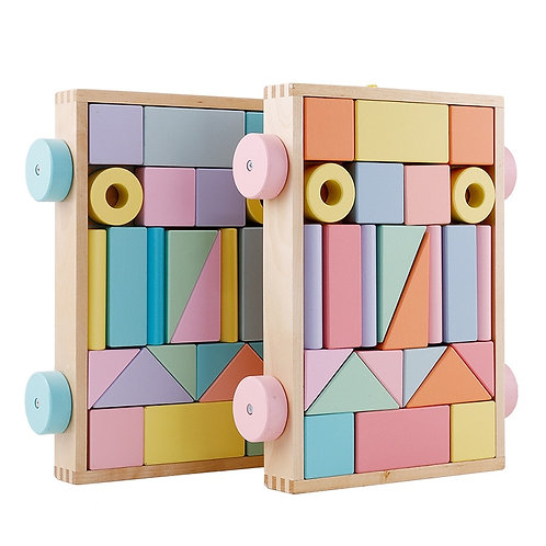 Educational Wooden Building blocks + Trolley -Montessori