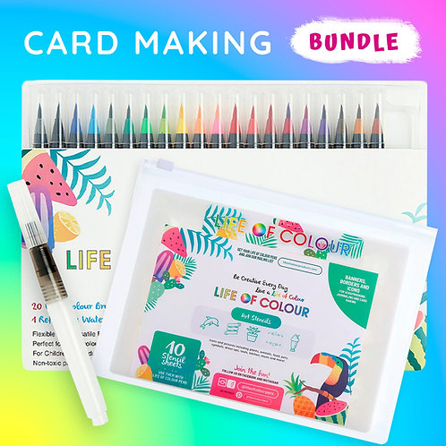 Watercolour Brush Pens + Stencil Bundle