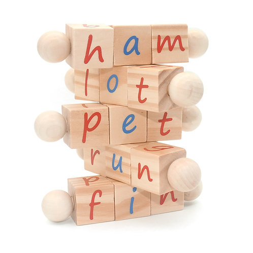 Wooden Reading Blocks - Educational Alphabet Manipulative Blocks
