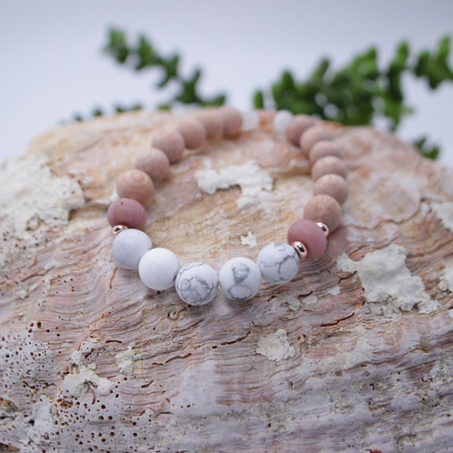 Essential Oil Diffusing Bracelet with Howlite, Rhodonite, Selenite, and Rosewood