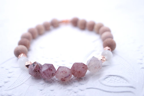 Essential Oil Diffusing Bracelet with Strawberry Quartz, Selenite, and Rosewood