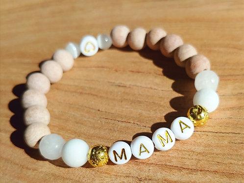 Essential Oil Diffuser Bracelet w/MAMA letter beads, Selenite, Jade, & Rosewoood