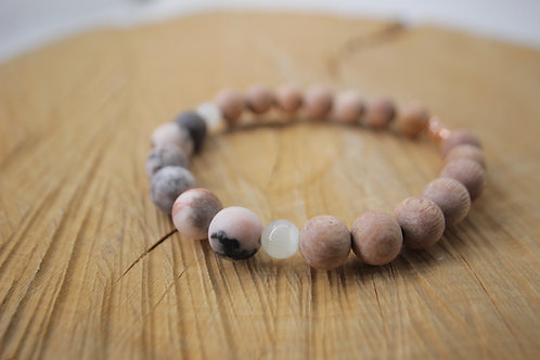 Essential Oil Diffusing Bracelet with Pink Zebra Jasper, Selenite, and Rosewood