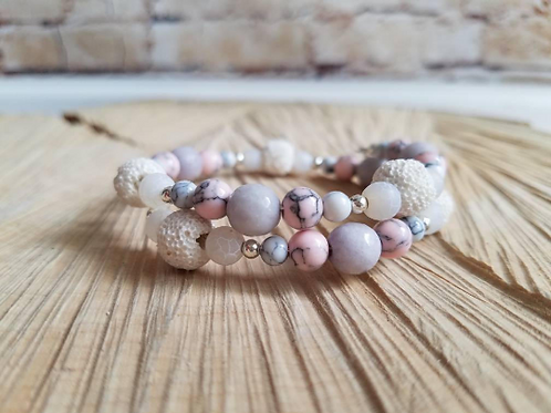 Essential Oil Diffusing Bracelet with Gray Jade, White & Pink Magnesite, White A