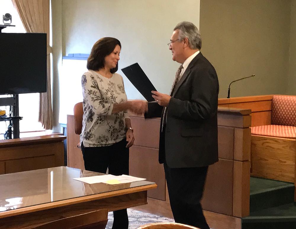 Judge James A. Fredericka, April Caraway