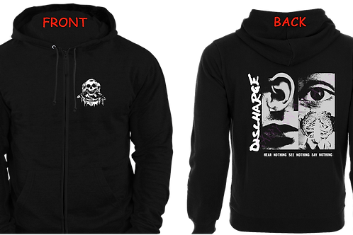 "Full zip hoodie DISCHARGE ""Hear Nothing"""