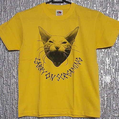 """Kids T-shirt Carry on Screaming """"Cat"""" in yellow"""