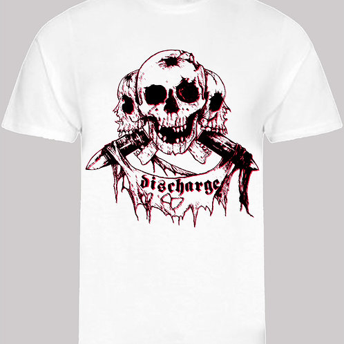 T-Shirt DISCHARGE 3 Skulls Black&Red - ORGANIC