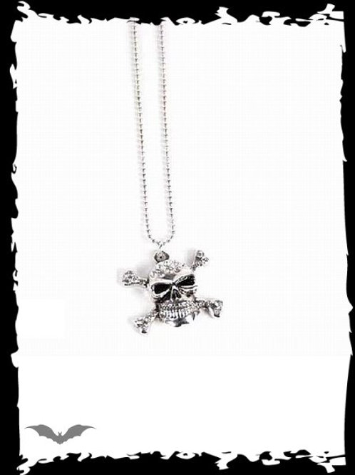 Necklace with skull & rhinestones