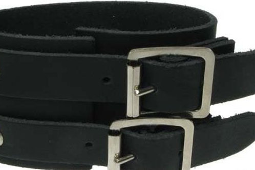 Leather wristband - 3 row plain with straps