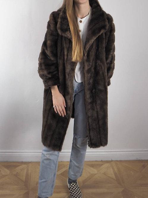 Vintage Brown Tissaval Faux Fur Coat - 16UK