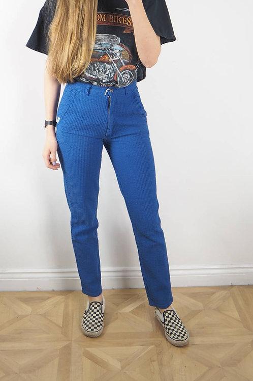 Vintage Blue Crinkle Trousers - 8UK