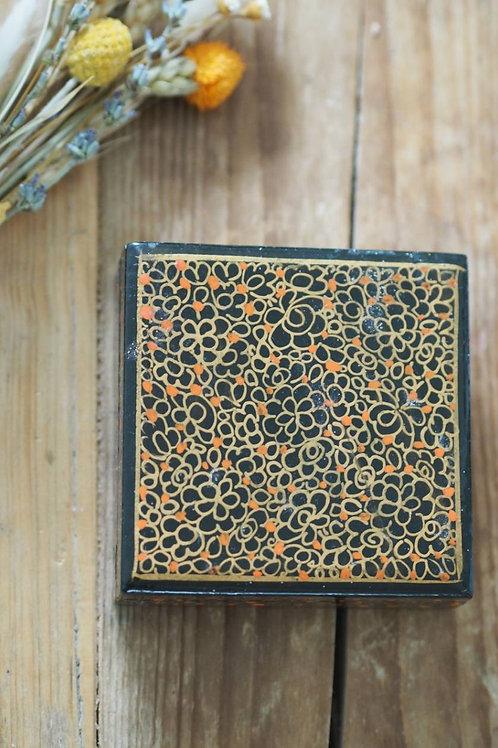 Indian Paper Mache Floral Orange Dot Box