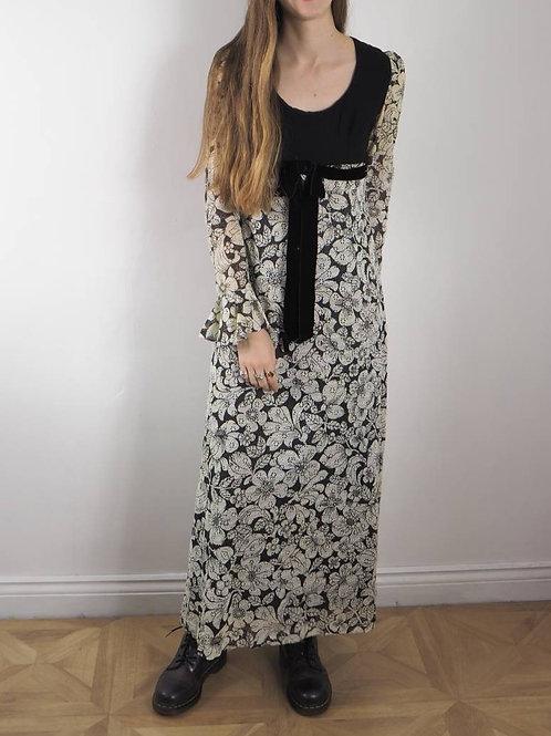 Vintage Mono Lace Maxi Dress - 8UK