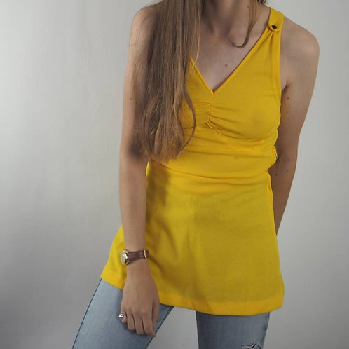 Vintage Yellow 70s Vest  Top - 8UK
