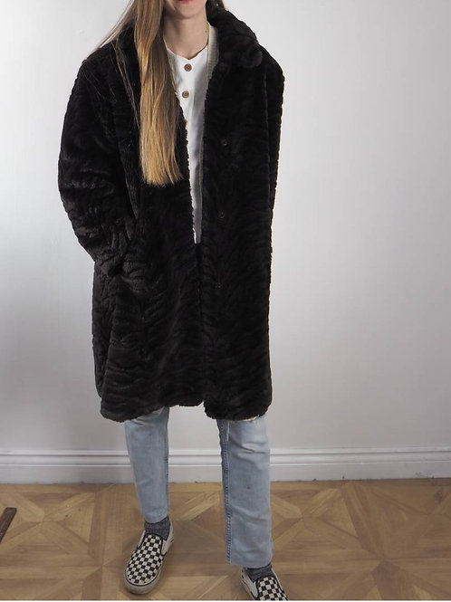 Vintage Zebra Faux Fur Coat - 18UK