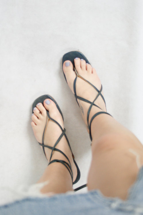 Vintage Navy Multi Strap Sandals