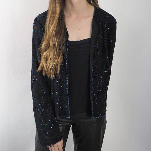 Vintage Black Bead Sequin Jacket - 14UK