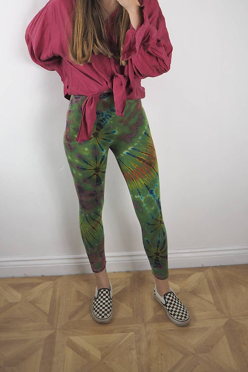 Fair Trade Green Tie Dye Leggings - 8-10UK
