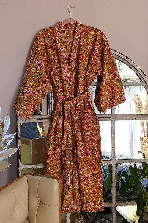 Molly Orange Cotton Kimono Robe - 8-18UK