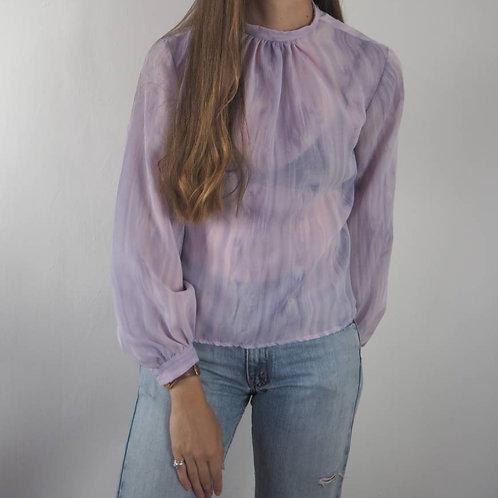 Vintage Lilac Sheer Blouse - 12UK