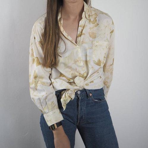 Vintage Cream Floral Shirt - 16UK